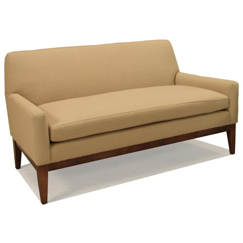 BeModern Jaxx Contemporary Settee with Track Arms and Exposed Wood Base