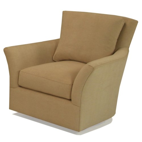 BeModern Maya Upholstered Swivel Chair with Flared Arms