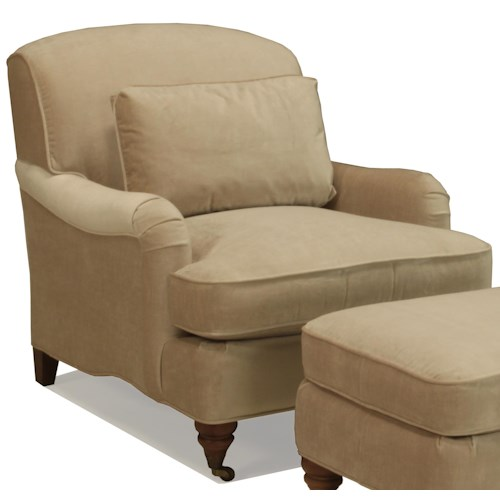 BeModern Brighton Upholstered Chair with Attached Back and Castered Legs