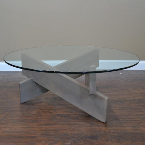 BeModern 14CK Round Cocktail Table with Glass Top