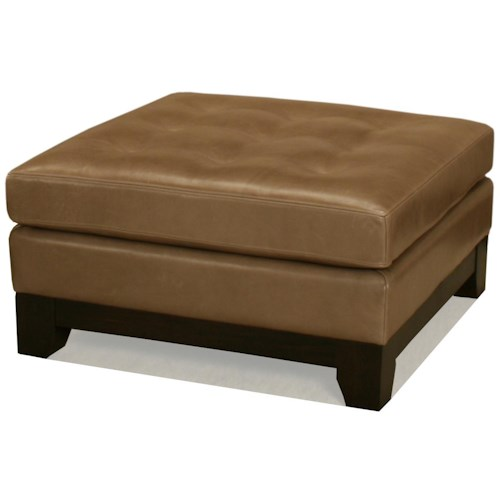 BeModern Occasional Ottomans Square Leather Cocktail Ottoman with Tufting