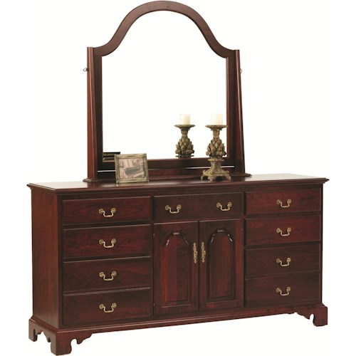 Rotmans Amish Elegant River Bend Dresser with 2 Doors and Mirror