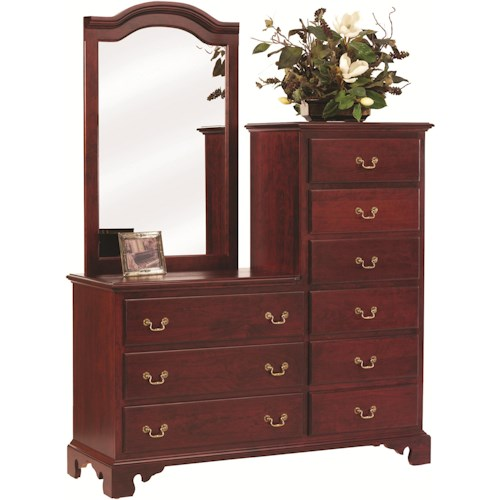 Rotmans Amish Elegant River Bend Chesser with 9 Drawers and Mirror