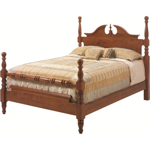 Rotmans Amish Elegant River Bend Queen Cannon Ball Bed with Decoratively Arched Headboard