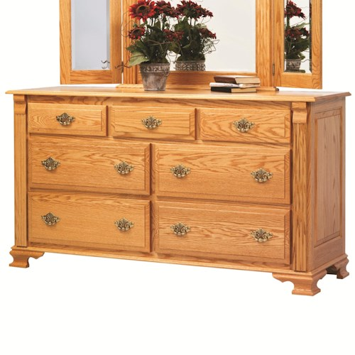 Rotmans Amish Journeys End 7 Drawer Dresser with with Fluted Columns and Bracket Feet