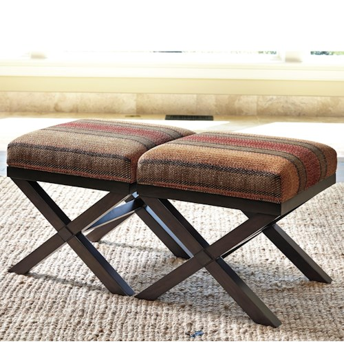 Millennium Fiera Set of 2 Accent Ottomans in Stripe Fabric