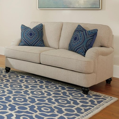 Millennium Harahan Loveseat with English Arms & Turned Feet