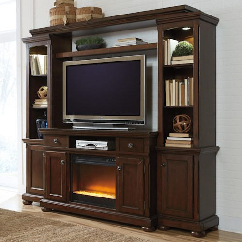 Millennium Porter Entertainment Wall Unit w/ TV Stand, Bridge, and Piers