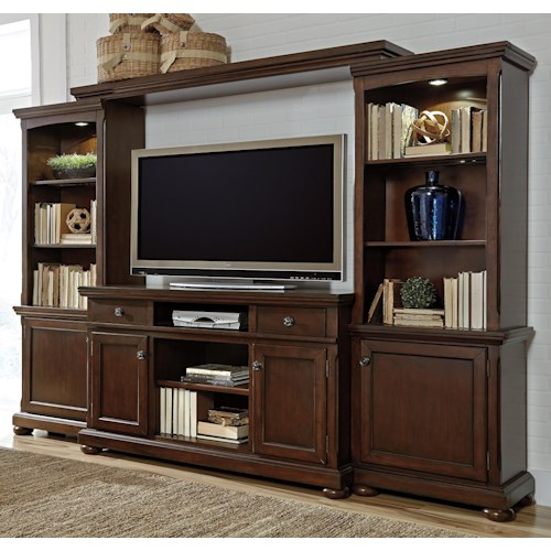 Millennium Porter Entertainment Wall Unit w/ Extra Large TV Stand, Bridge, and Piers