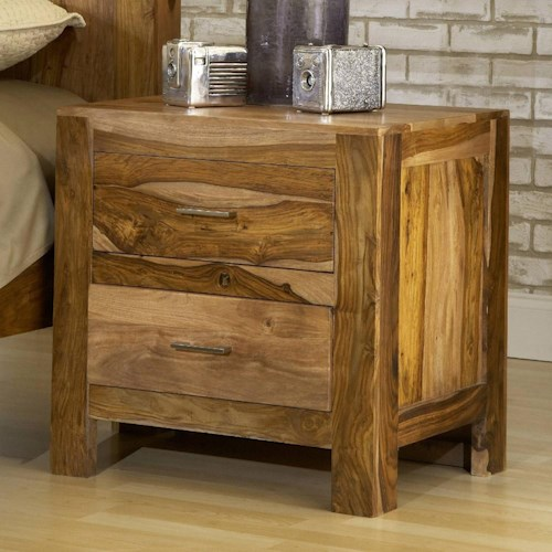 Modus International Atria Contemporary Solid Wood Nightstand with Two Drawers