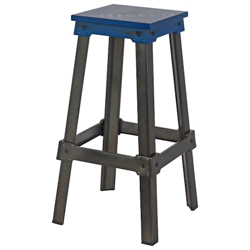 Moe's Home Collection Amelie Steel Bistro Bar Stool Blue