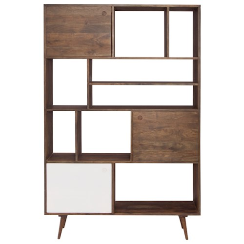 Moe's Home Collection Blossom Two Tone Retro Bookshelf with 8 Open Compartments