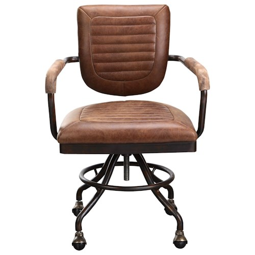 Moe's Home Collection Foster Industrial Leather Desk Chair