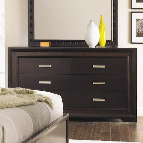 Najarian Brentwood Six Drawer Dresser with Silver Hardware