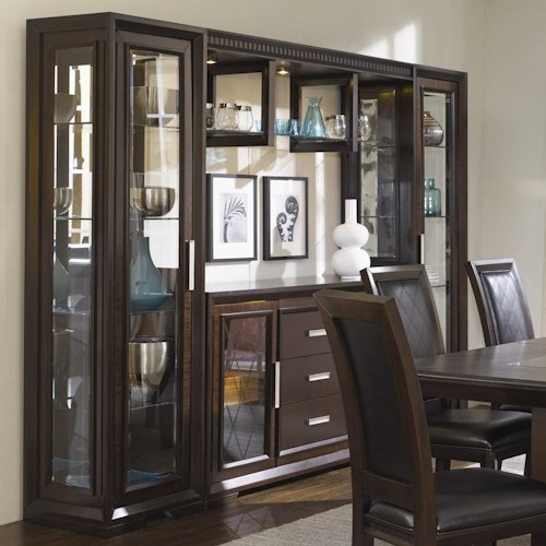 Najarian Brentwood China Cabinet With Server, Light Bridge and Storage