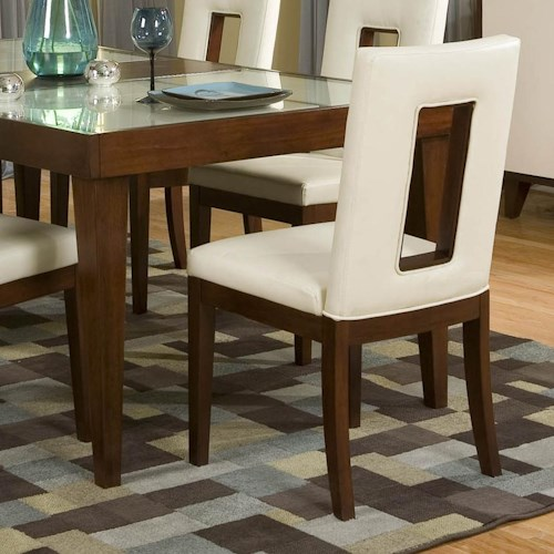 Najarian Enzo Dining PU Upholstered Side Chair with Open Backrest