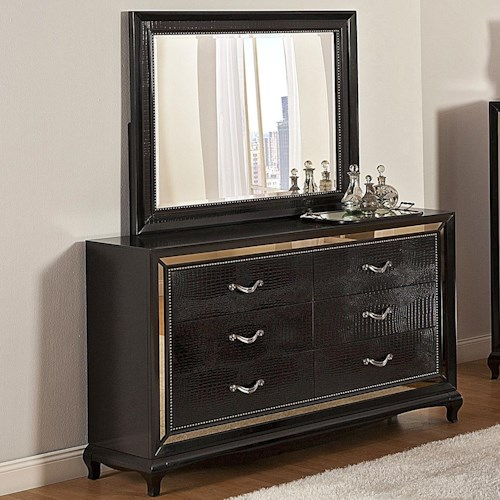 Najarian Ibiza Transitional Crocodile-Pattern Dresser with Tinted Glass Border and Matching Mirror Set
