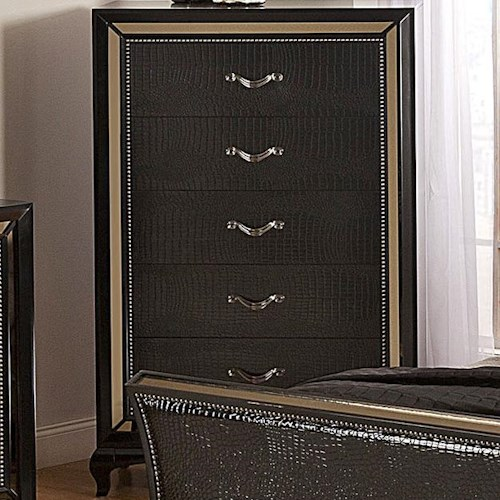 Najarian Ibiza Transitional Crocodile-Pattern Chest with Tinted Glass Border