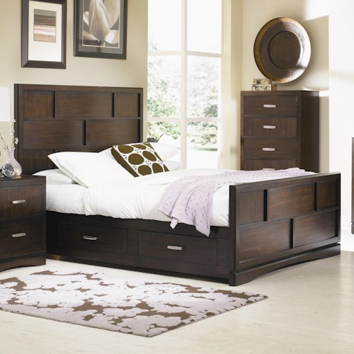 Najarian Key West King-Size Panel Bed with Grid Detail and Storage Drawers