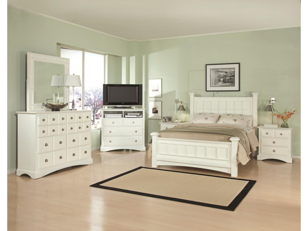 Shown with Dresser and Mirror Set, TV Chest and Low Post Bed