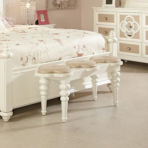 Najarian Paris Youth Bedroom Paris Bedside Bench with Faux Leather Upholstery and Clover-Leaf Cushions