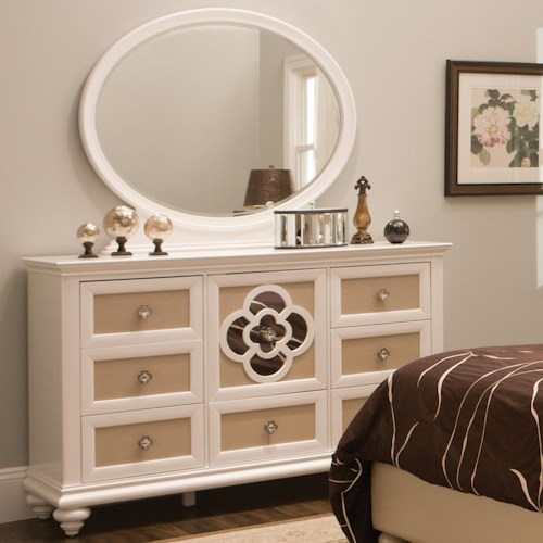 Najarian Paris Youth Bedroom Dresser and Mirror Set with Reversible Drawer Panels and Reflective Inserts