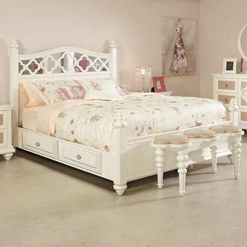 Najarian Paris Youth Bedroom Full Panel Bed with Storage