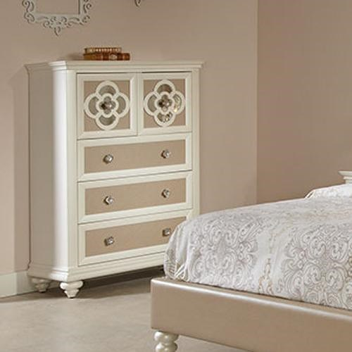 Najarian Paris Youth Bedroom Chest of Five Drawers with Reversible Drawer Panels and Reflective Inserts
