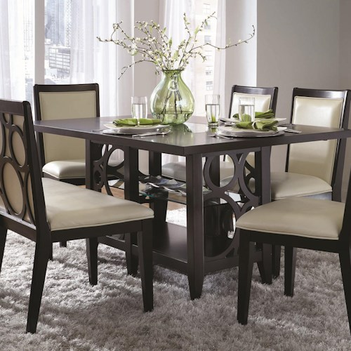 Najarian Planet Contemporary Rectangular Pedestal Table with Dining Storage