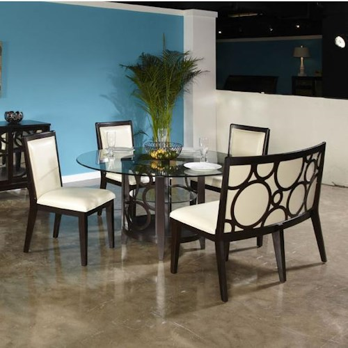 Najarian Planet Contemporary Five Piece Dining Set with Glass-Topped Table and Dining Bench