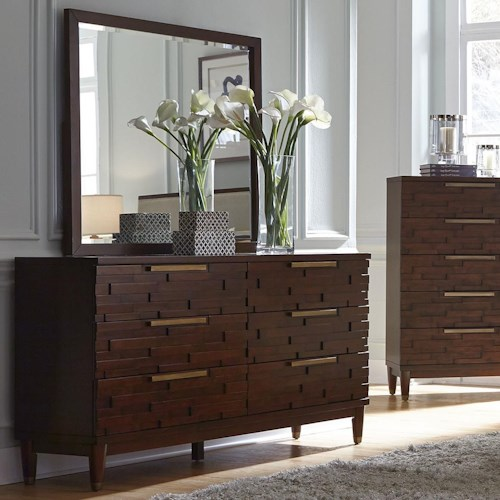Najarian Rodeo Contemporary Dresser with Rose Gold Hardware and Mirror Set