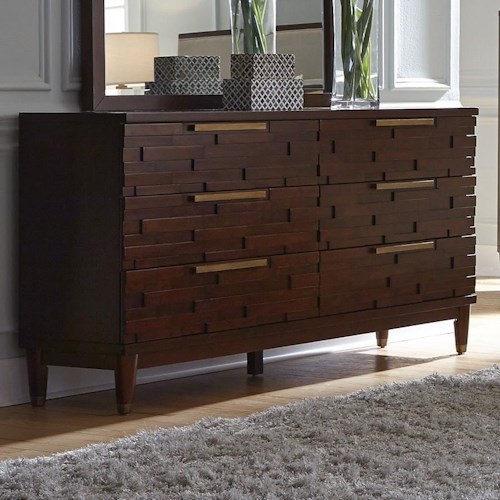 Najarian Rodeo Contemporary Six Drawer Dresser with Rose Gold Hardware