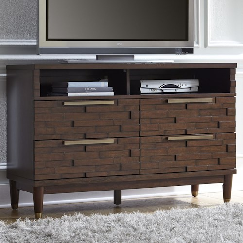 Najarian Rodeo Contemporary TV Chest with Rose Gold Hardware