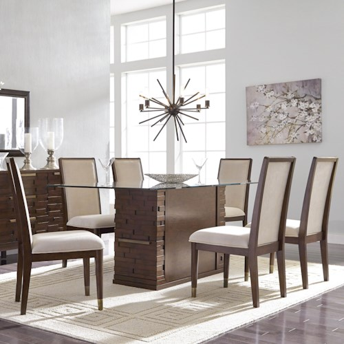 Najarian Rodeo Seven Piece Dining Set with Glass-Topped Table and Built-In Storage