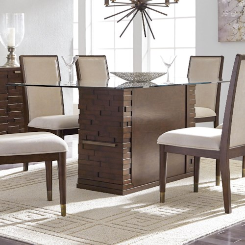 Najarian Rodeo Contemporary Glass-Topped Dining Table with Built-In Storage