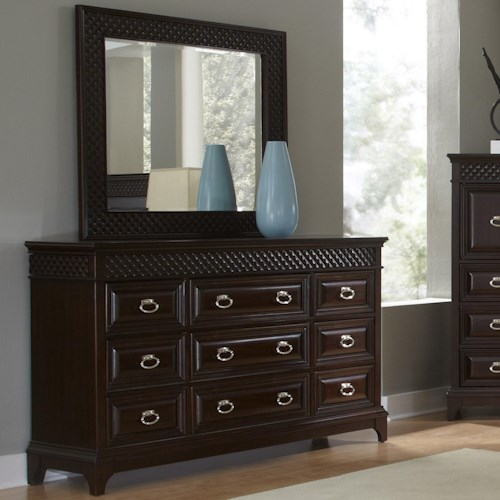 Najarian Sonoma 9 Drawer Dresser with Landscape Mirror with Beveled Glass