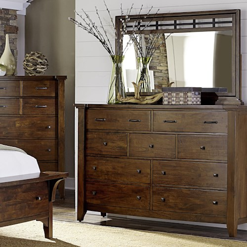Napa Furniture Designs Whistler Retreat Solid Mango 9 Drawer Chest & Mirror
