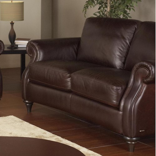 Natuzzi Editions A297 Traditional Leather Loveseat with Wood Feet