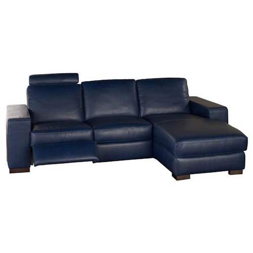 Natuzzi Editions A397 2 piece Contemporary Leather Reclining Sectional with RAF Chaise