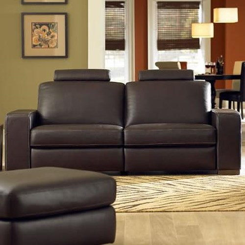 Natuzzi Editions A397 Contemporary Leather Reclining Sofa with Adjustable Headrests