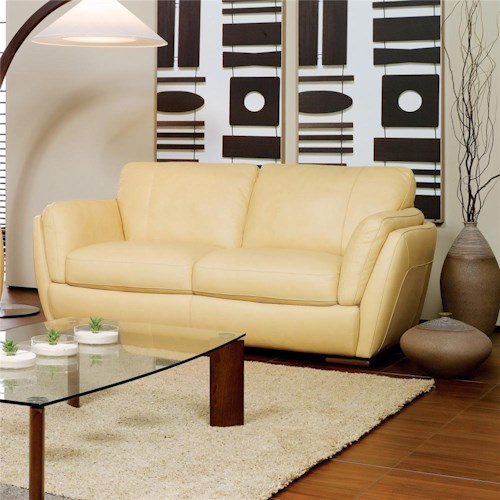 Natuzzi Editions A399 Stationary Love Seat with Track Arms
