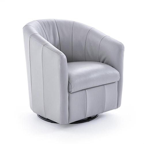Natuzzi Editions Natuzzi Contemporary Barrel Swivel Chair