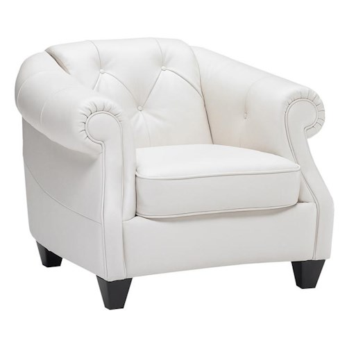 Natuzzi Editions B520 Transitional Button-Tufted Chair with Rolled and Sloped Arms