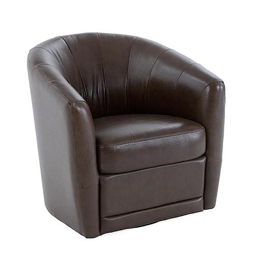 Natuzzi Editions B596 Contemporary Swivel Barrel Chair