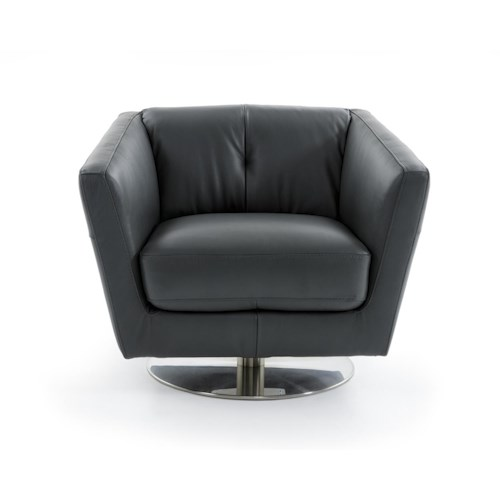 Natuzzi Editions B617 Contemporary Rotating Arm Chair with Tufted Back and Tall Track Arms