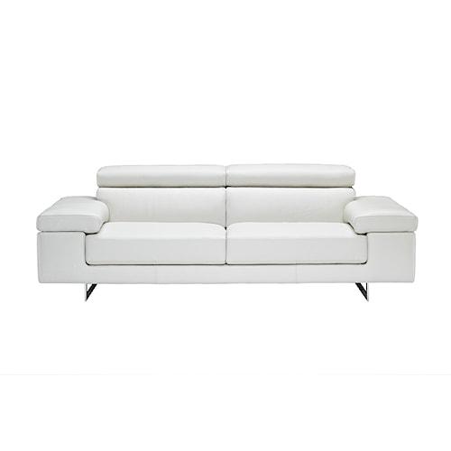 Natuzzi Editions B619 Stationary Leather Sofa With Adjustable Headrests