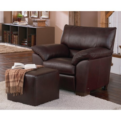 Natuzzi Editions B632 Plush Pillow Arm Chair and Leather Ottoman