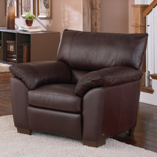 Natuzzi Editions B632 Plush Pillow Arm Leather Chair