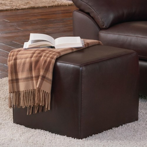Natuzzi Editions B632 Leather Cube Ottoman
