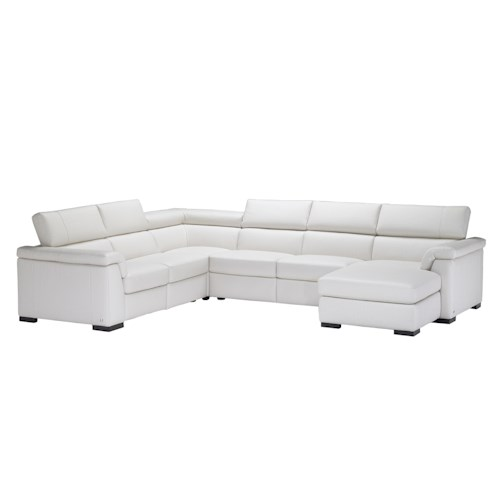 Natuzzi Editions B634 Contemporary Leather Sectional Sofa with RAF Chaise